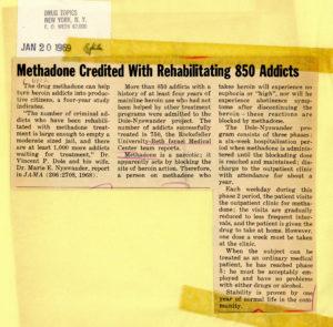 "Headline reads: ""Methadone Credited With Rehabilitating 850 Addicts"""